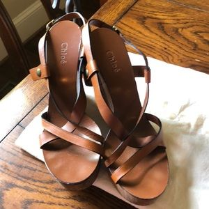 Chloe brown platform wedges with wooden heels 8.5